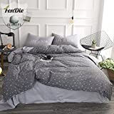 FenDie Stars Printed Duvet Cover Set Queen Grey Teens Bedding Set for Boys Cotton Reversible Pattern 3 Piece Set, Durable Lightweight