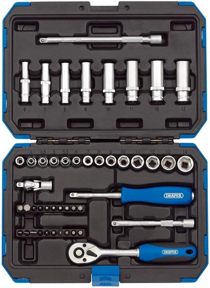 "45 piece Draper 1//4/"" Square Drive Metric Socket Set In Metal Case"