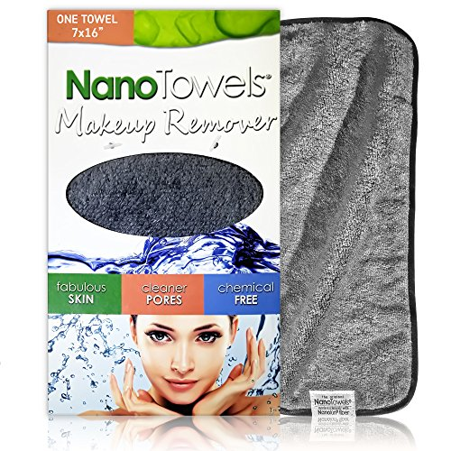 """Nano Towel Makeup Remover Face Cloth. Remove Cosmetics FAST and Chemical Free. Wipes Away Facial Dirt and Oil Like An Eraser. Great for Sensitive Skin, Acne, Exfoliating, Mascara, etc. 7 x 16"""""""