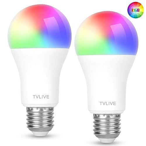 Bombilla LED Inteligente WiFi TVLIVE 2 Pack Bombilla LED Luces Cálidas Frías RGB Lámpara WiFi Funciona con Alexa Echo Echo Dot Google Home IFTTT 16 Millones de Colores E27 7 5W 800 Lúmenes