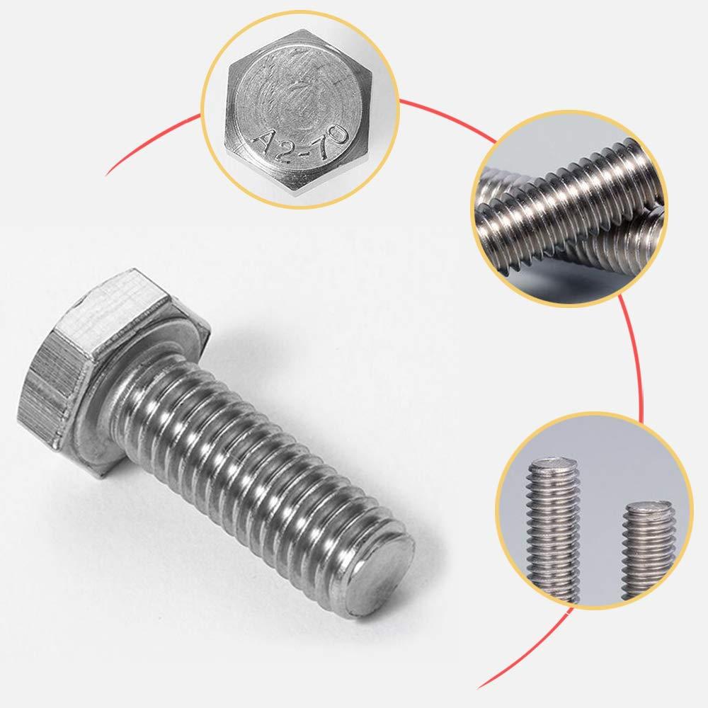 Schraube 70PCS, Mutter 70PCS M5*20mm Sechskantschrauben Edelstahl 304 Maschinenschrauben Gewindeschrauben Voller Thread Schrauben und Muttern