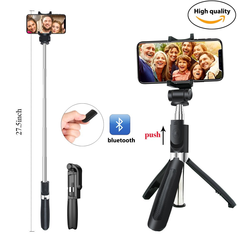Udoo Selfie Stick Tripod with Bluetooth Remote for iphone X 8 plus 7 6 6s plus Android Samsung s9 s8 s7 plus edge Pocket 360 Degree Rotation Extendable Monopod Aluminum Alloy
