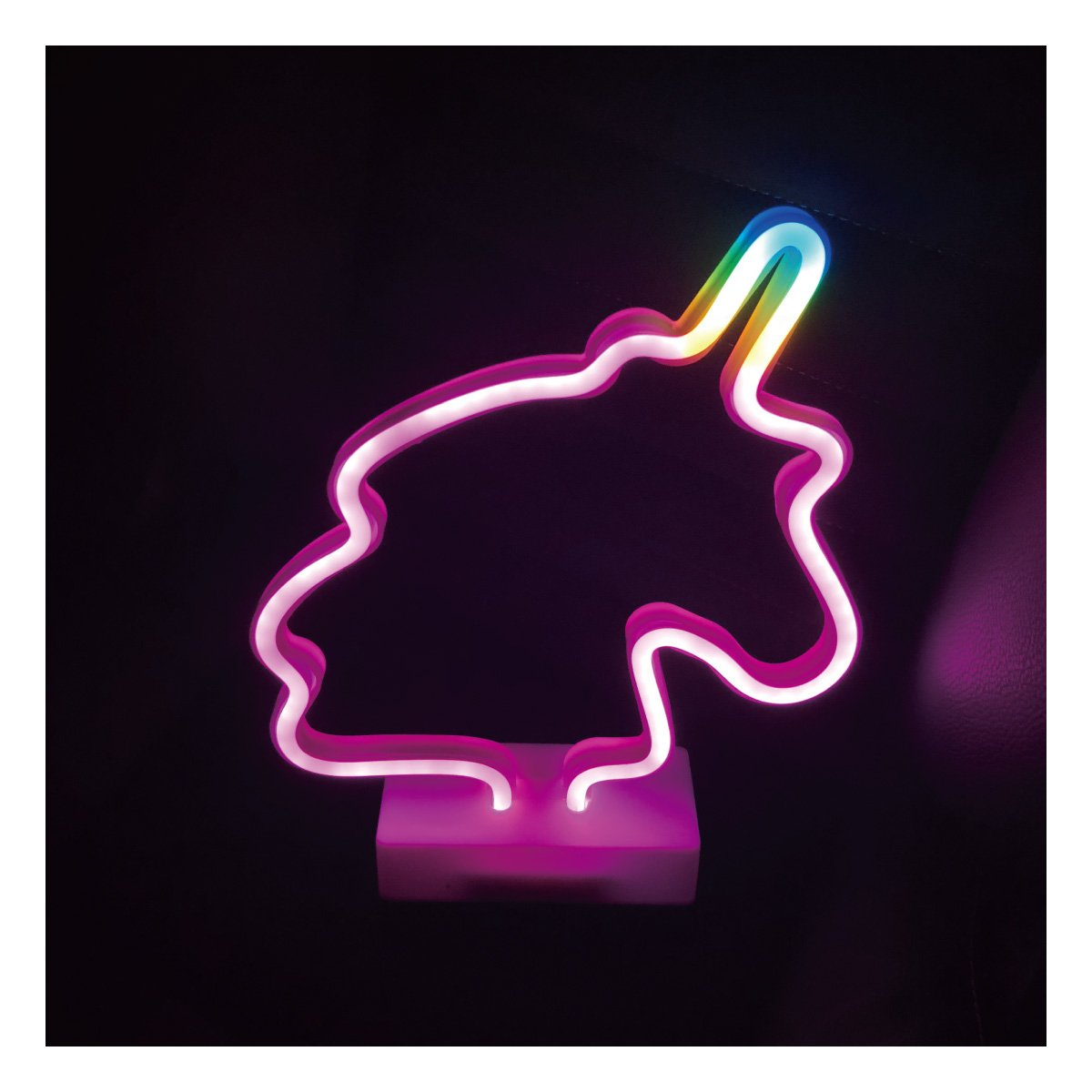 YiiY Neon Sign Desk Table Lamp/LED Figurine Lamps Lights Battery Operated for Nursery,Table Decorations,Kids' Room,Living Room,Bedroom (Unicorn-pink)