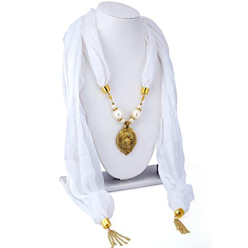 Long Mala Necklace for Women (White)