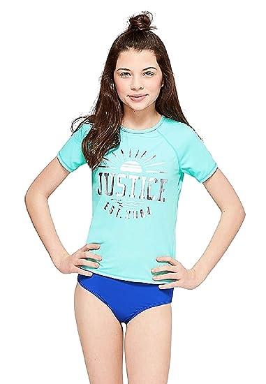 1427a5115 Amazon.com: Justice for Girls Aqua Logo Rashguard Swim Top (8): Clothing