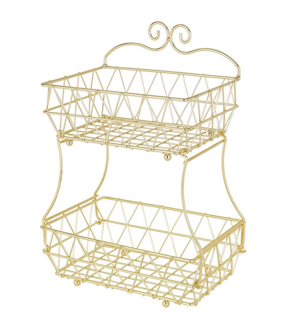 Upgraded Version - ESYLIFE 2 Tier Fruit Bread Basket Display Stand - Screws Free Design - Shining Gold Color