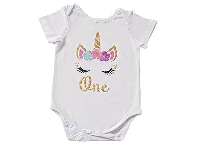 8d5c488ea Unicorn First Birthday Outfit Baby Girl First Birthday Cake Smash Bodysuit  (12-18 mon