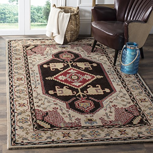 Safavieh Bellagio Collection BLG549A Beige and Black Premium Wool Area Rug (5' x 8')