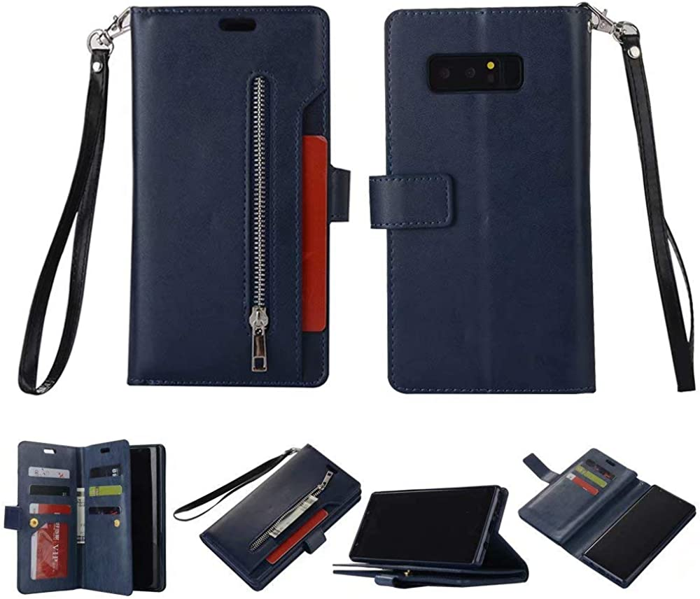 Galaxy Note 8 Case, SUPZY Leather [9 Card slots] [photo & wallet pocket] Multi-function Premium