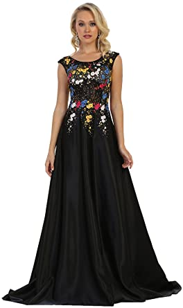 Formal Dress Shops Inc Royal Queen RQ7587 A-Line Prom Formal Evening Gown (Black
