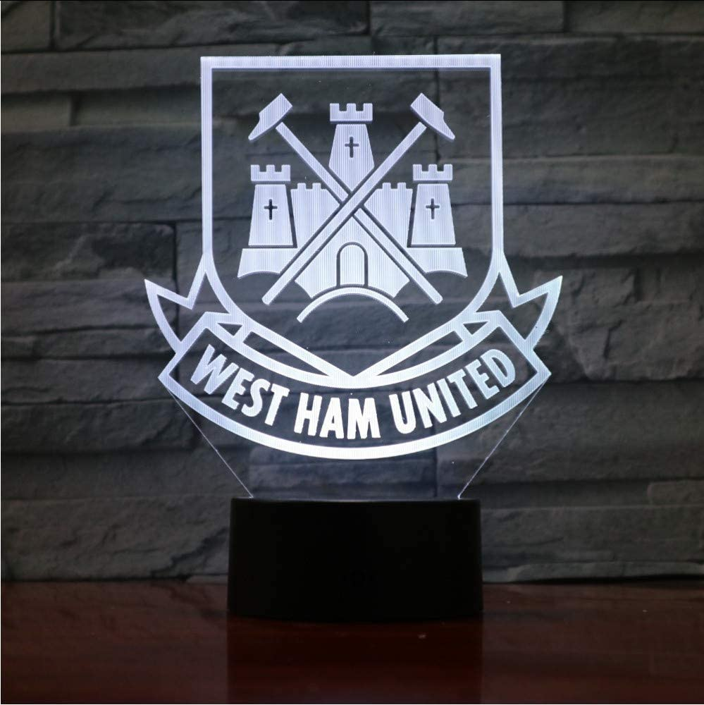 West Ham United Football Club Illusione ottica 3D Mood Light 7 colori cambia Luminaria Lava Lamp Kids Night Light Regali novit/à