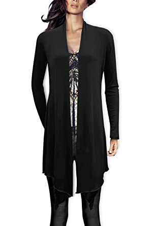 Black Butterfly Long Drape Waterfall Cardigan: Amazon.co.uk: Clothing