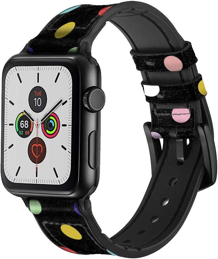 CA0816 Colorful Polka Dot Leather & Silicone Smart Watch Band Strap for Apple Watch iWatch Size 38mm/40mm