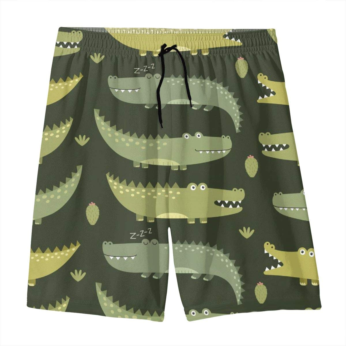 Depuge Cartoon Alligator Boy Swim Trunks Summer Quick Dry Beach Shorts with Pocket