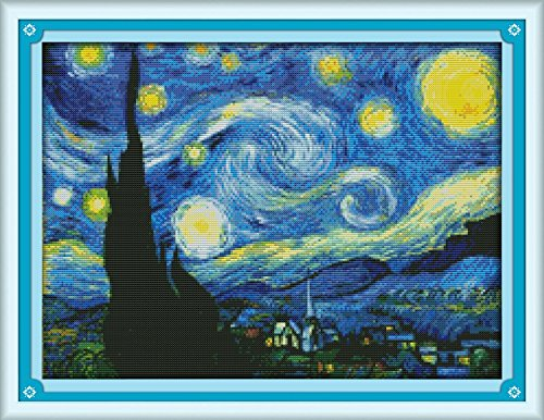 (Good Value Cross Stitch Kits Beginners Kids Advanced - The Starry Night of Van Gogh 11 CT 23