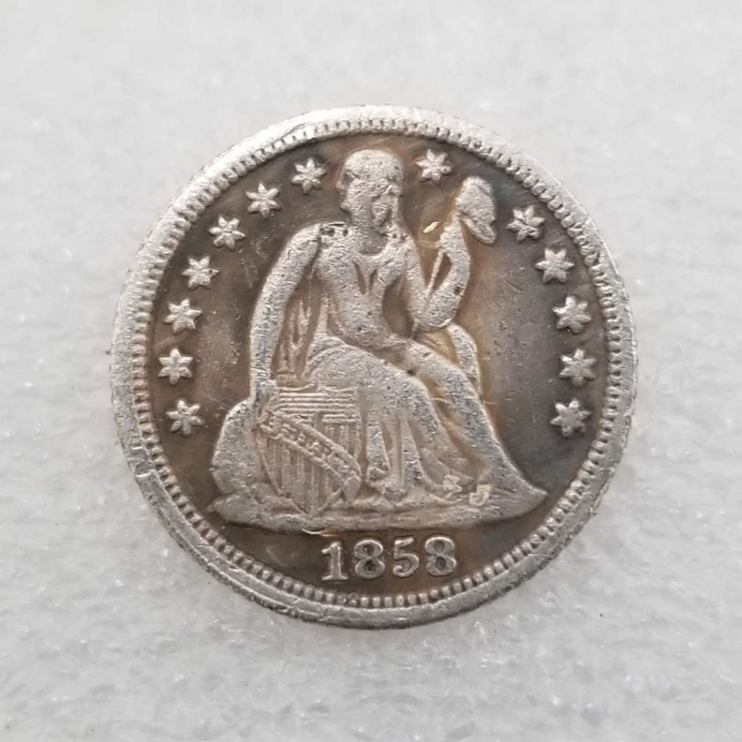 Lucky Commemorative Coin Gift-Teaching Tool for kids-It is handmade crafts goodService DDTing 1858 Antique Great United States Old Liberty One-DIME Coins