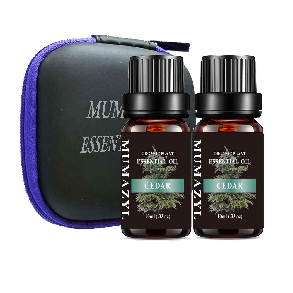 MUMAZYL 2Pack Cedar Essential Oil Organic Olant & Natural 100% Pure Therapeutic Grade Cedar Oil Perfect for Diffuser, Humidifier, Massage, Aromatherapy, Skin & Hair Care-2x10ml