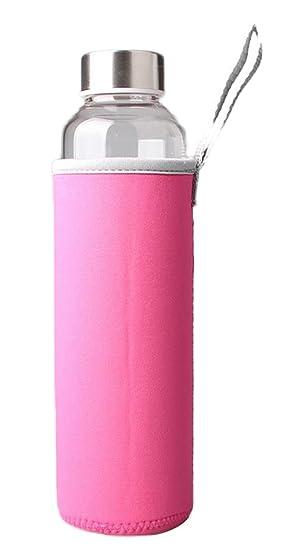 Demarkt 2X Botella de Agua Botella de Vidrio de Borosilicato con Funda de Nylon Perfecto para