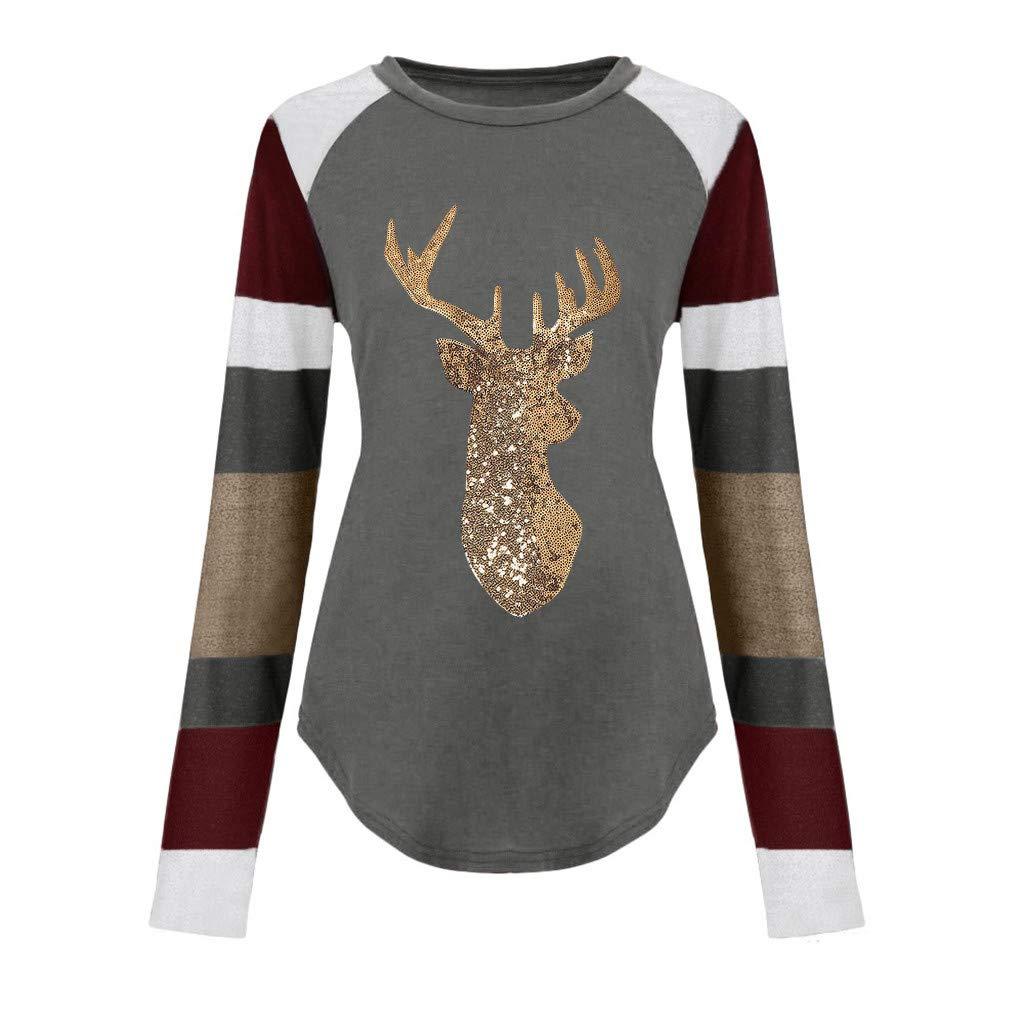 NANTE Top Christmas Blouse Sequin Reindeer Stripe Raglan Sleeve Shirt Xmas Elk Graphic Cute Blouse Loose Fit Elegant Thermal Tops