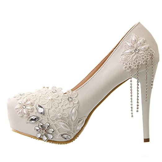 Sisjuly Womens Round Toe Lace Beading Stiletto Heels Wedding Shoes US5