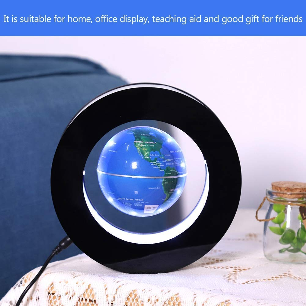 Magnetic Levitating Globe Novelty Floating Led Lamp with World Map Anti Gravity Rotating Globe Electronic Home and Office Decoration Educational Geography Tool Blue