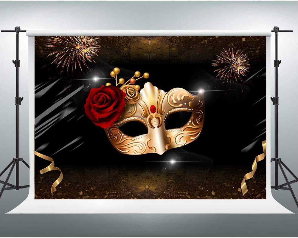 GESEN Masquerade Background 10x7ft Golden Mask Red Rose Colorful Fireworks Photo Backdrops for Pictures Themed Party Background Photo Props ZYGE031