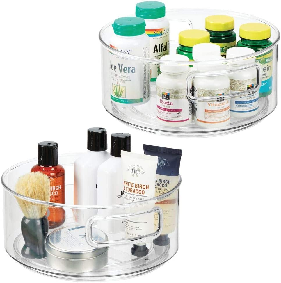 """mDesign Plastic Spinning Lazy Susan Turntable Storage Bin with Handles - Rotating Organizer for Vitamins, Supplements, Essential Oils, Medical Supplies, First Aid Supplies - 9"""" Round, 2 Pack - Clear"""
