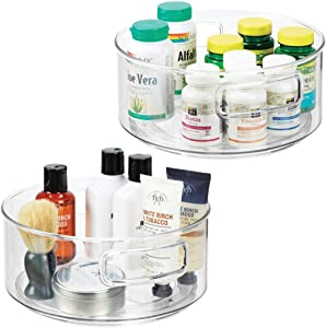 "mDesign Plastic Spinning Lazy Susan Turntable Storage Bin with Handles - Rotating Organizer for Vitamins, Supplements, Essential Oils, Medical Supplies, First Aid Supplies - 9"" Round, 2 Pack - Clear"