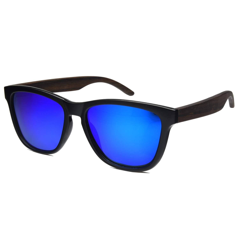 Wooden Sunglasses,Ablibi Polarized Womens Wood Sunglasses Handmade Lightweight Shades with Wooden Box(blue)