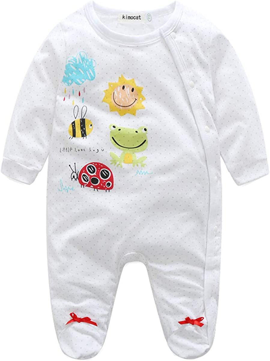 Kimocat Footie Romper Jumpsuit Pajamas Baby Girl Cotton Full Printing Long Sleeve Sleepwear Outfits Fall Clothes