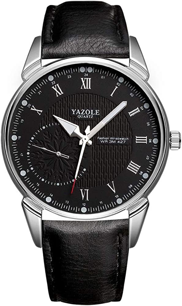 Infinito U-Reloj de Cuarzo Reloj Negro Ultra Fino para Hombre Minimalista Moda Relojes de Pulsera para Hombres Casual Impermeable con Correa Negro/Marron de Cuero