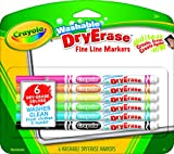 Crayola Washable Dry-Erase Fine Line Markers, 6 Classic Colors Non-Toxic Art Tools for Kids & Toddlers 3 & Up, Easy Clean Up, Wont Stain Hands or Clothes, Great for Classrooms - 98-5906