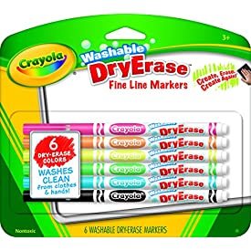 Crayola Washable Dry-Erase Fine Line Markers, 6 Classic Colors Non-Toxic Art Tools for Kids & Toddlers 3 & Up, Easy Clean Up, Won't Stain Hands or Clothes, Great for Classrooms – 98-5906