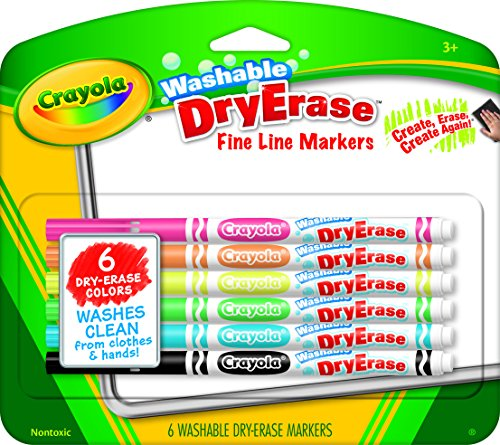 (Crayola Washable Dry-Erase Fine Line Markers, 6 Classic Colors Non-Toxic Art Tools for Kids & Toddlers 3 & Up, Easy Clean Up, Won't Stain Hands or Clothes, Great for Classrooms)