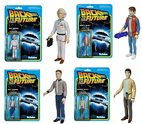 "Back To The Future Funko ReAction 3 3/4"" Action Figures Set Of 4"
