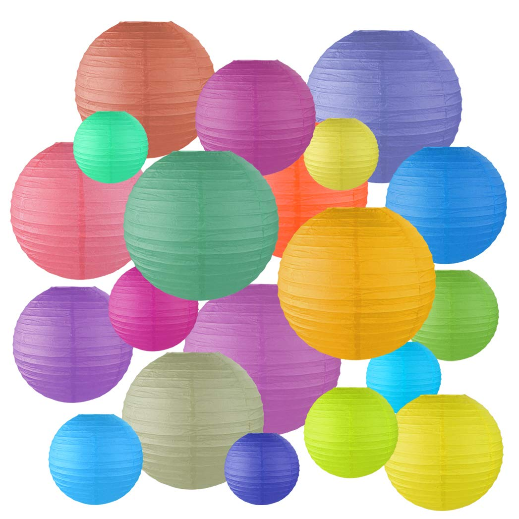 Miayon 20PCS Paper Lanterns, (Random Color 5 Sizes), Hanging Decorations for Home Parties, and Weddings,Baby Shower by Miayon (Image #1)
