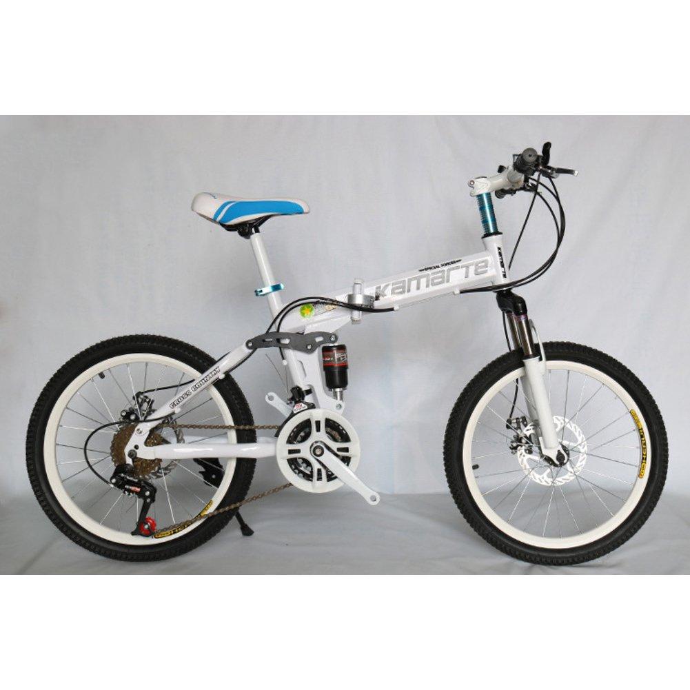 学生折りたたみ自転車, 子供用折りたたみ自転車 ダブルの衝撃吸収材 山 21 速度 男女 大人 折りたたみ自転車 折りたたみ自転車 B07DK81XZM 20inch|白 白 20inch