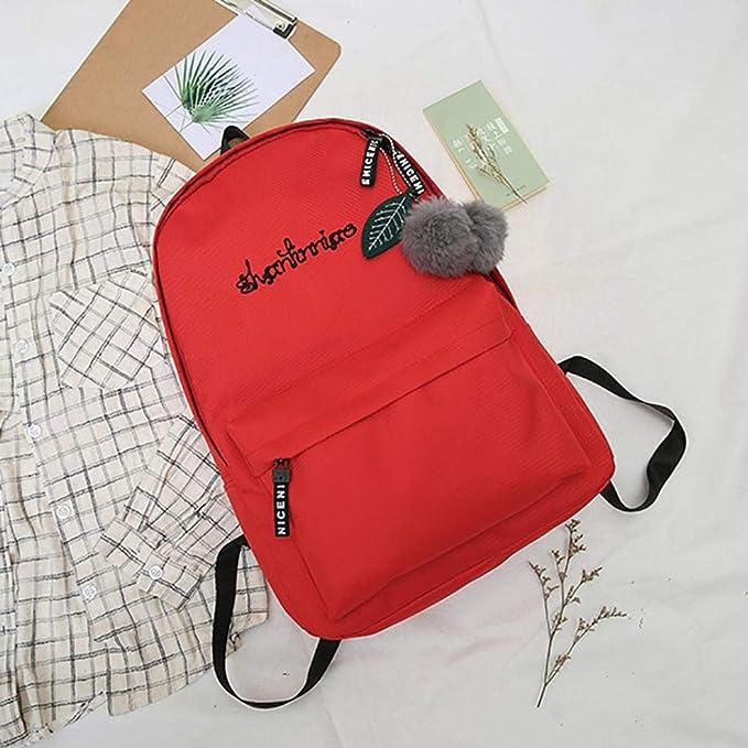 Red Alalso 2018 Unisex Preppy Shoulder Solid Bookbags School Travel Backpack Bag