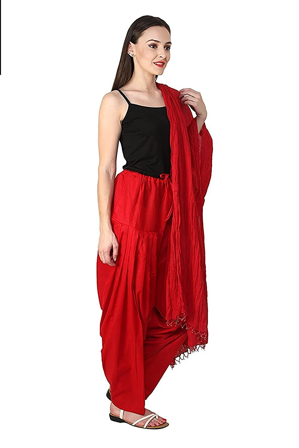|| Green World Fashion || Red Indian Readymade Patiala Salwar Dupatta Set Perfect for Party, Wedding & All Occasions (fit with Kurta, Suits, Kurte, T-Shirts Etc.)