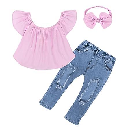 Wongfon Baby Kleidung Set - Mädchen aus Schulter T-Shirt + Zerrissene Jeans + Stirnband Outfit