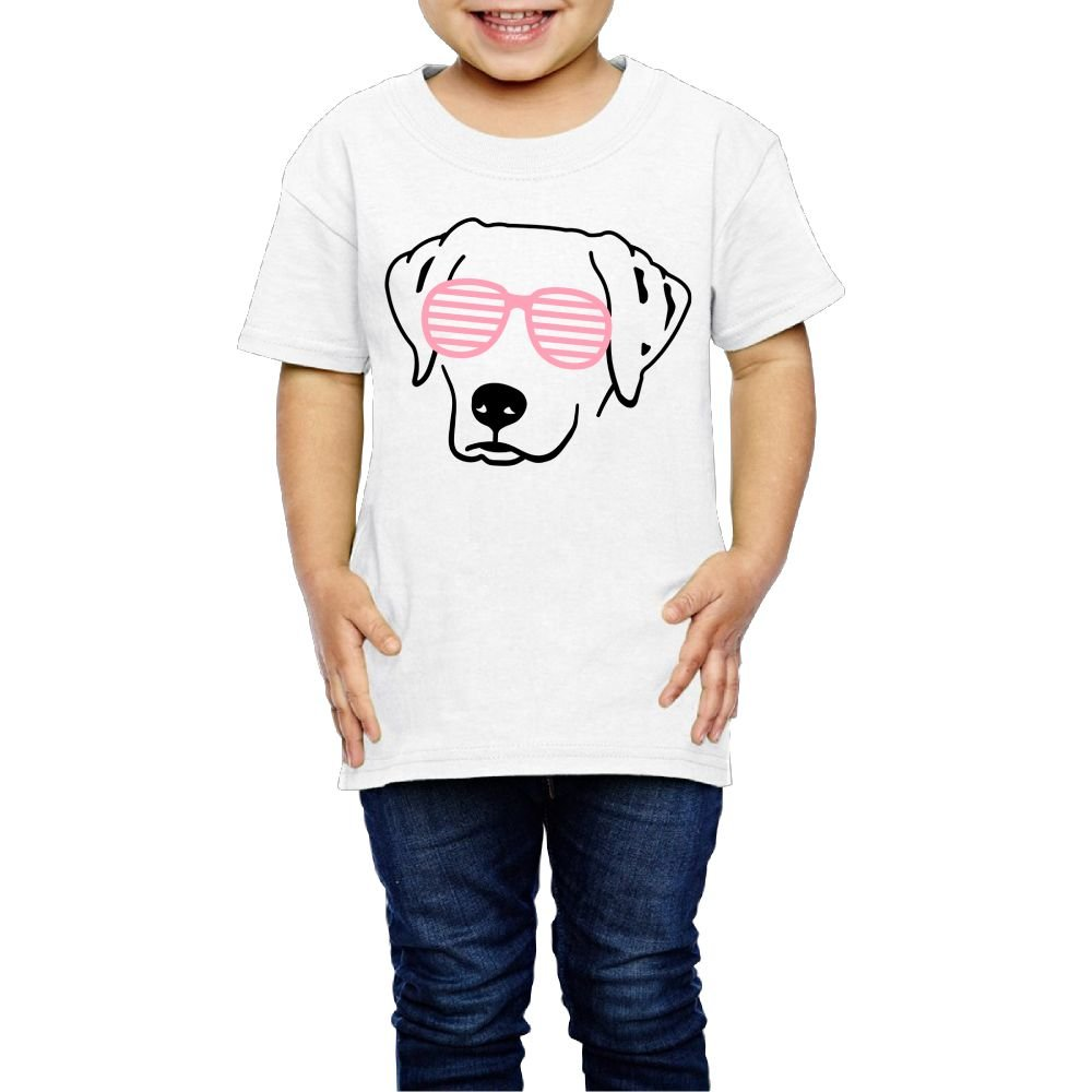 Girls' T-Shirt Short Sleeve Dog with Pink Glasses Crew Funny 2-6 Years by Lichang