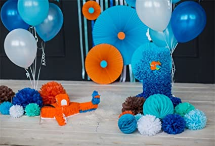 LFEEY 7x5ft Boy 1st Birthday Background Blue Baloons Paper Flowers Little Prince One Years Old First