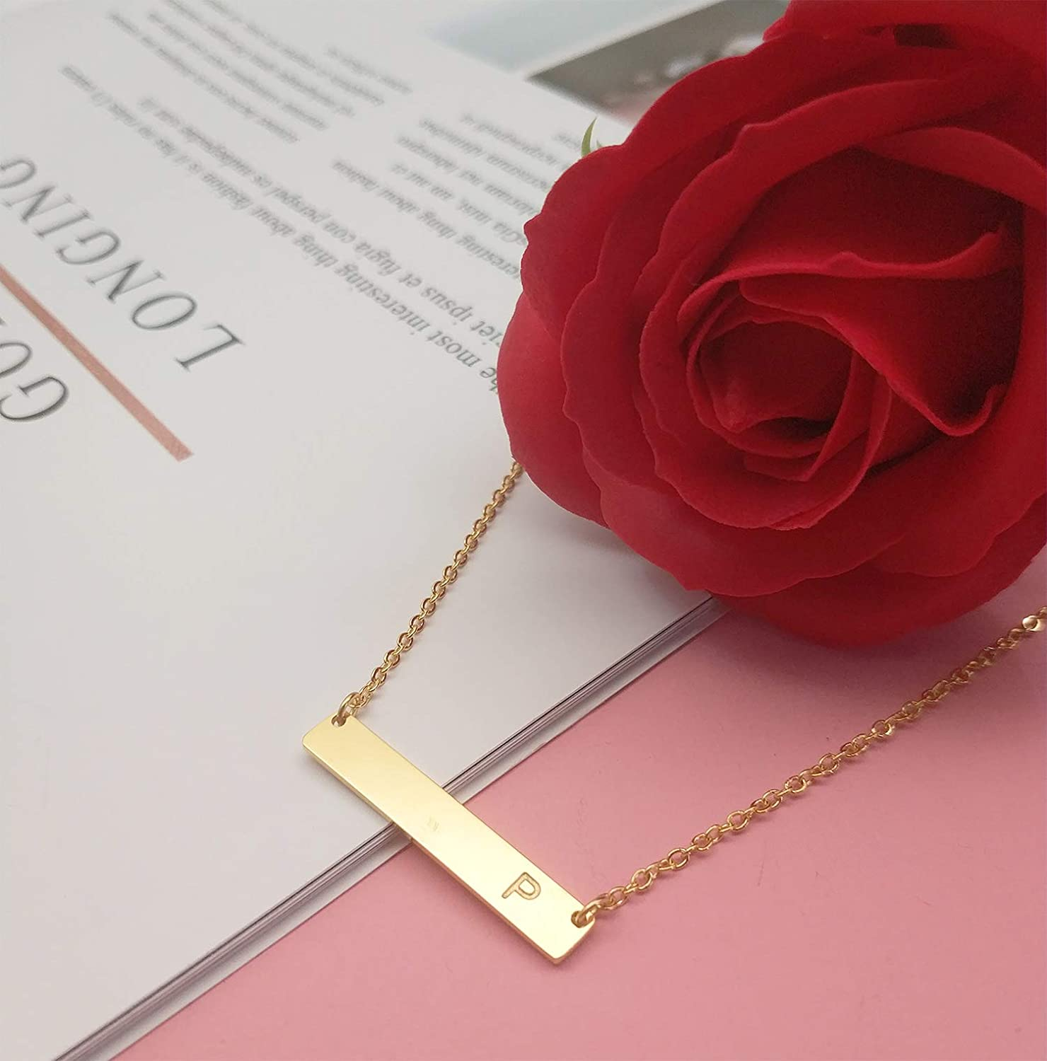 18K Gold Plated Stainless Steel Bar Necklace Dainty Delicate Initial Necklace Simple Personalized Name Letter Necklace for Women Girls MOMOL Bar Pendant Initial Necklace