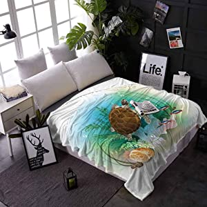 carmaxs Throw Blanket for Bed Ocean for Couch Home Bedroom Living Room Sea Turtle Swims in The Ocean Tropical Underwater World Aquarium Illustration Print 50 x 60 Inches Green Brown