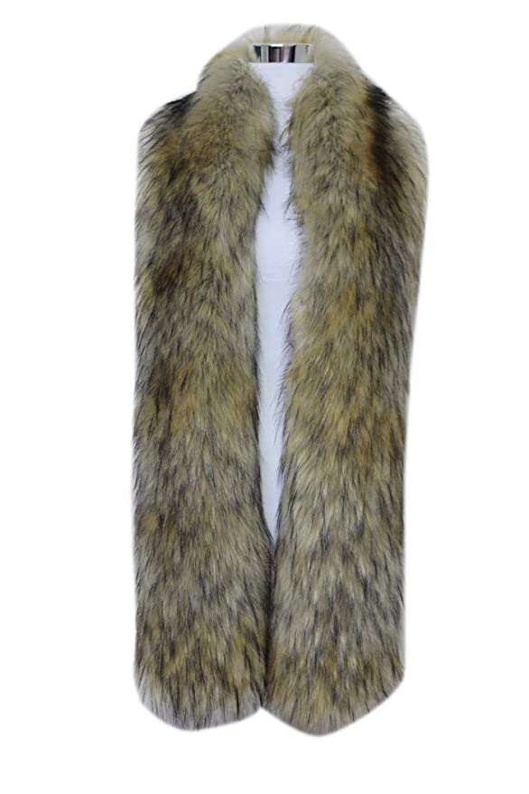 1920s Shawls, Scarves and Evening Jacket Tips Men Women Winter Warm Faux Fox Raccoon Fur Collar Stole Long Scarf Shawl $25.99 AT vintagedancer.com