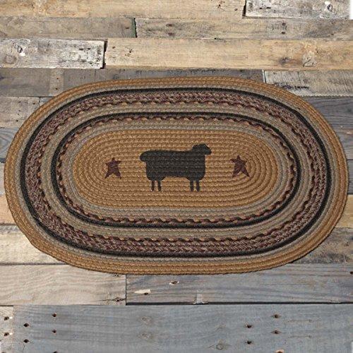 VHC Brands 37911 Primitive Flooring-Heritage Farms Tan Sheep Oval Jute Rug, 1'8