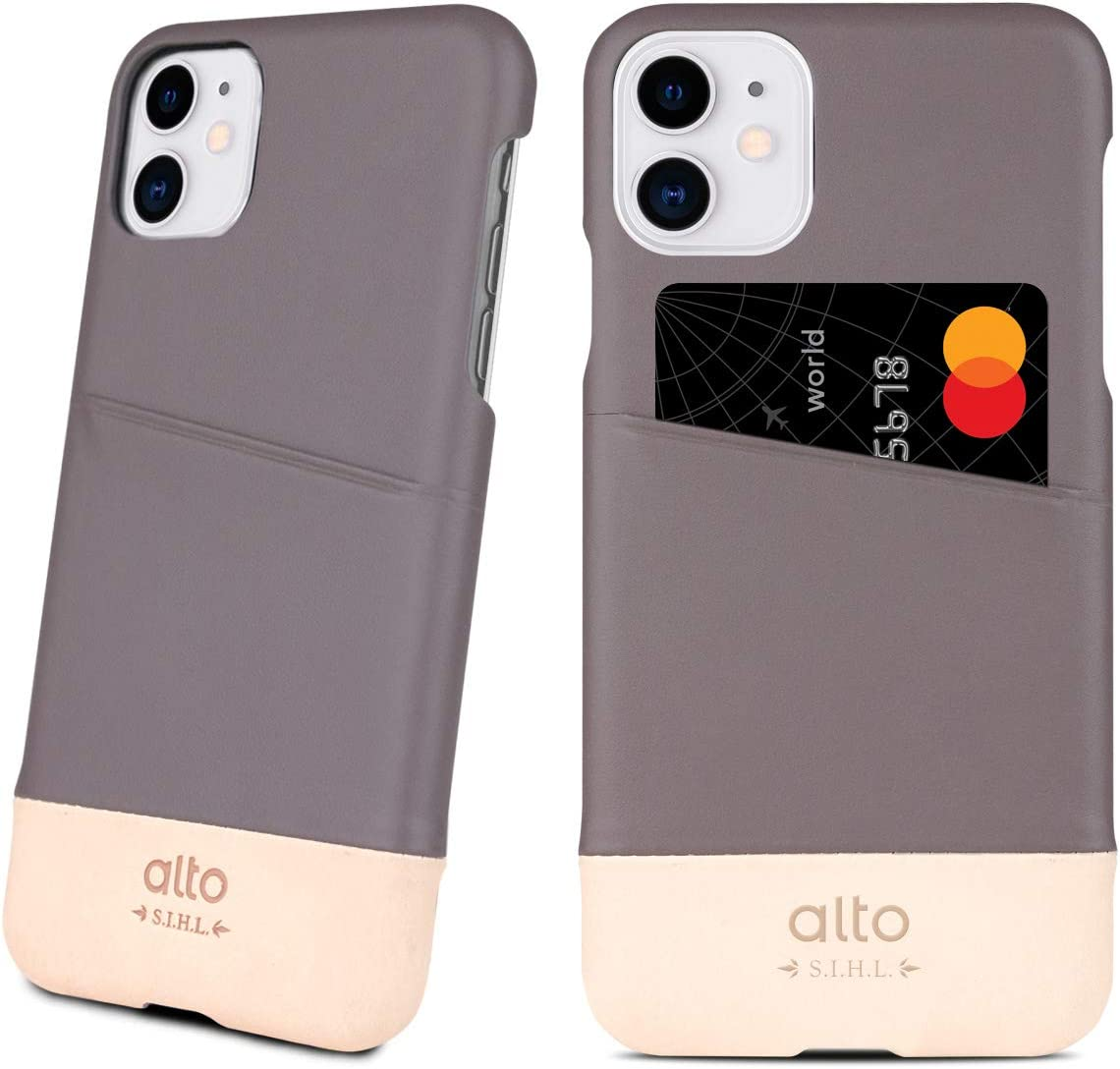 Alto Metro for iPhone 11 Pro Max Wallet Case (2019, 6.5 inch), Thin Italian Leather Made for iPhone 11 Pro Max Leather Case with Credit Card Slot Holder Design (Cement Grey/Original Nude)