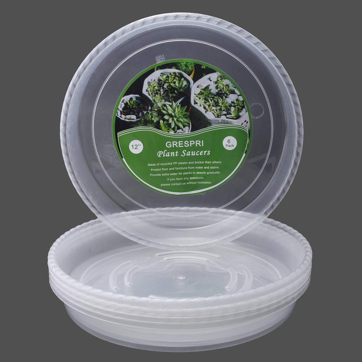 GRENSPRI Clear Plant Saucers in Thick Plastic 6 Packs of Flower Pot Saucers in 12 Inches Round Plant Tray Waterproof for Drips Recycle Indoor or Balcony (12 inches,6packs)