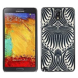 TopCaseStore / la caja del caucho duro de la cubierta de protección de la piel - White Wallpaper Black Floral Pattern - Samsung Galaxy Note 3 N9000 N9002 N9005