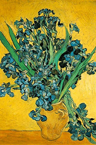 Vincent Van Gogh Vase with Irises Against A Yellow Background Art Poster 24x36 ()
